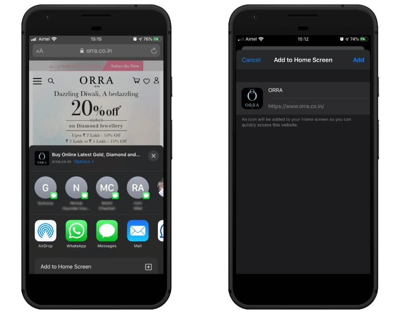 Orra PWA Add to Homescreen