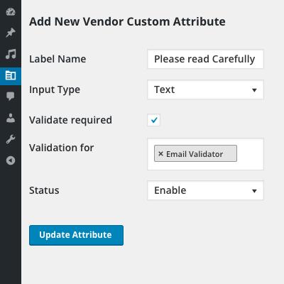 Add new vendor attribute