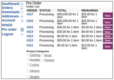 View Pre Order List