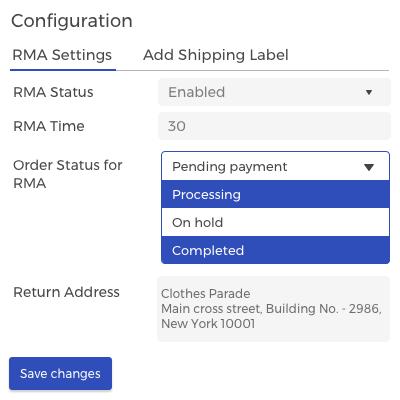 RMA configuration
