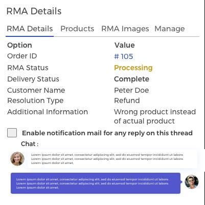 RMA Details and Conversation