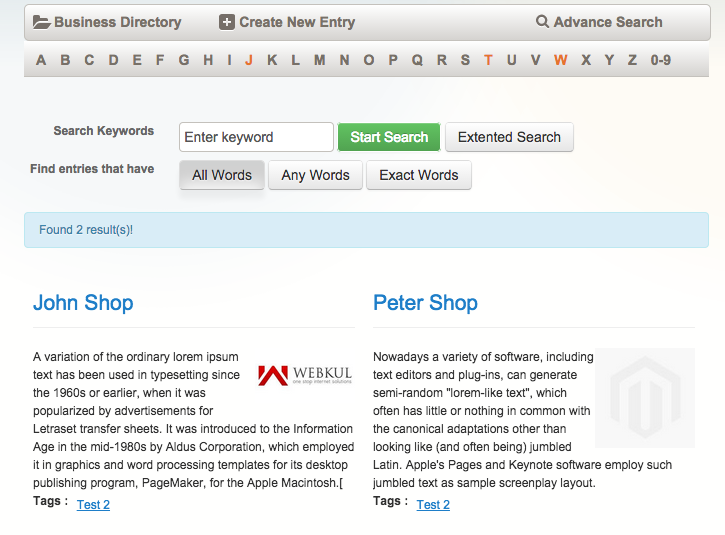 business directory list view
