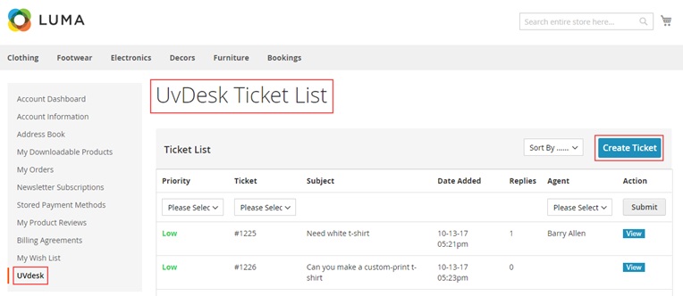 UVdesk Tickets Panel