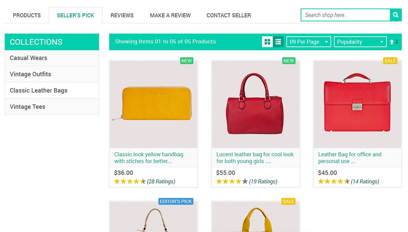 marketplace seller product collection view