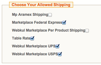 multiple shipping selection at seller side