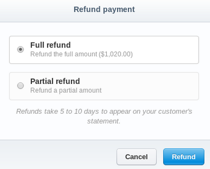 Refund payment
